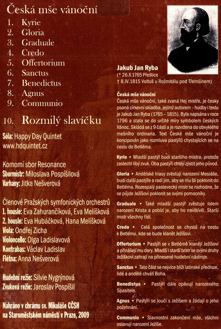 Jakub Jan Ryba Česká mše vánoční CD